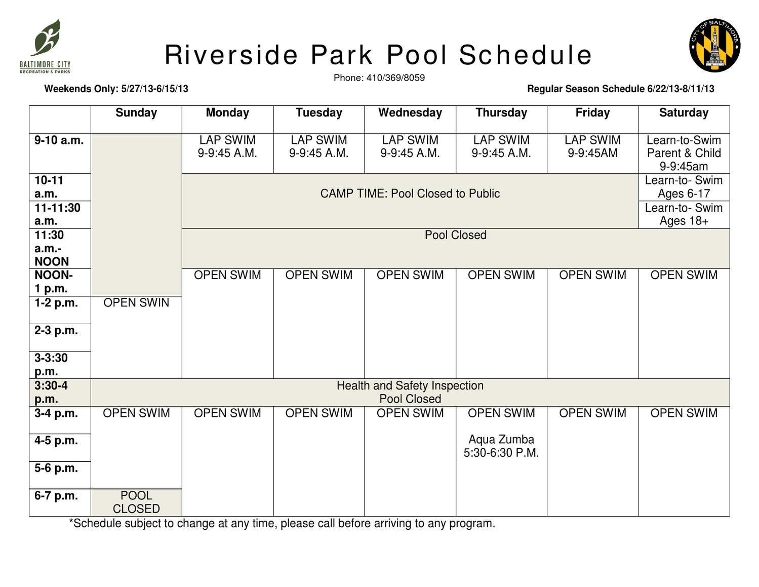 Riverside park pool schedule by baltimore city recreation - River park swimming pool schedule ...