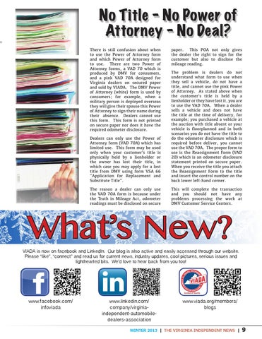 The Virginia Independent News Winter 2013 By Va Independent Dealers