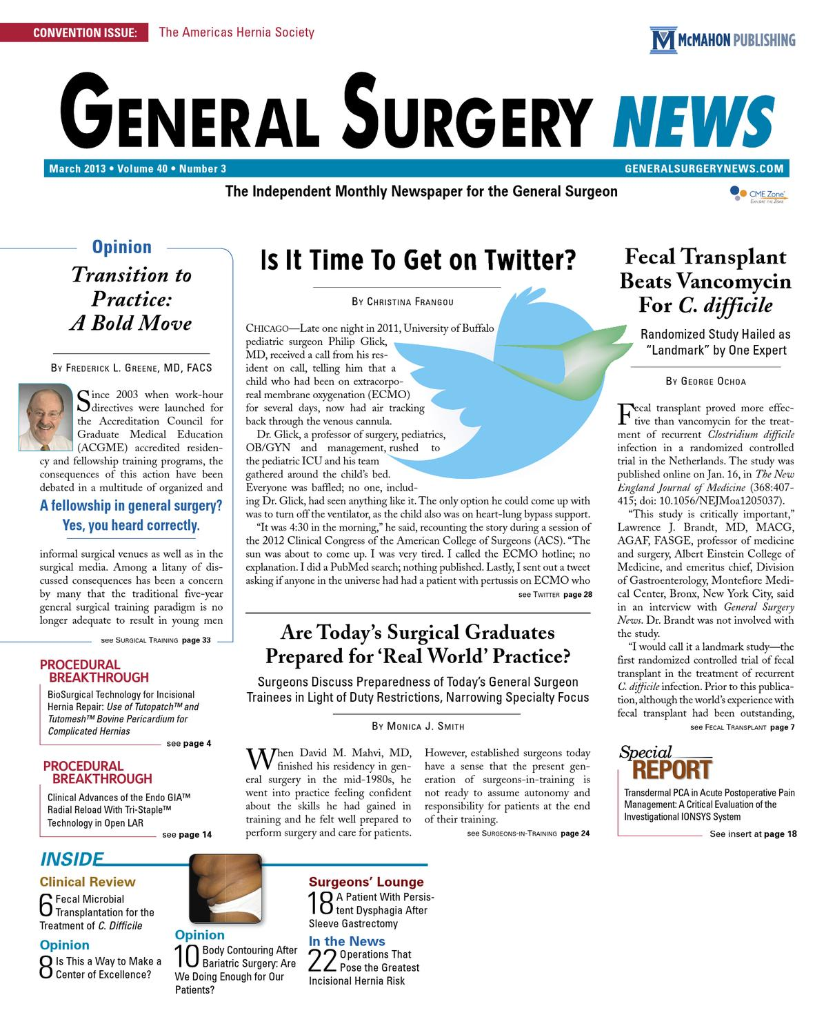 The March 2013 Digital Edition Of General Surgery News By McMahon