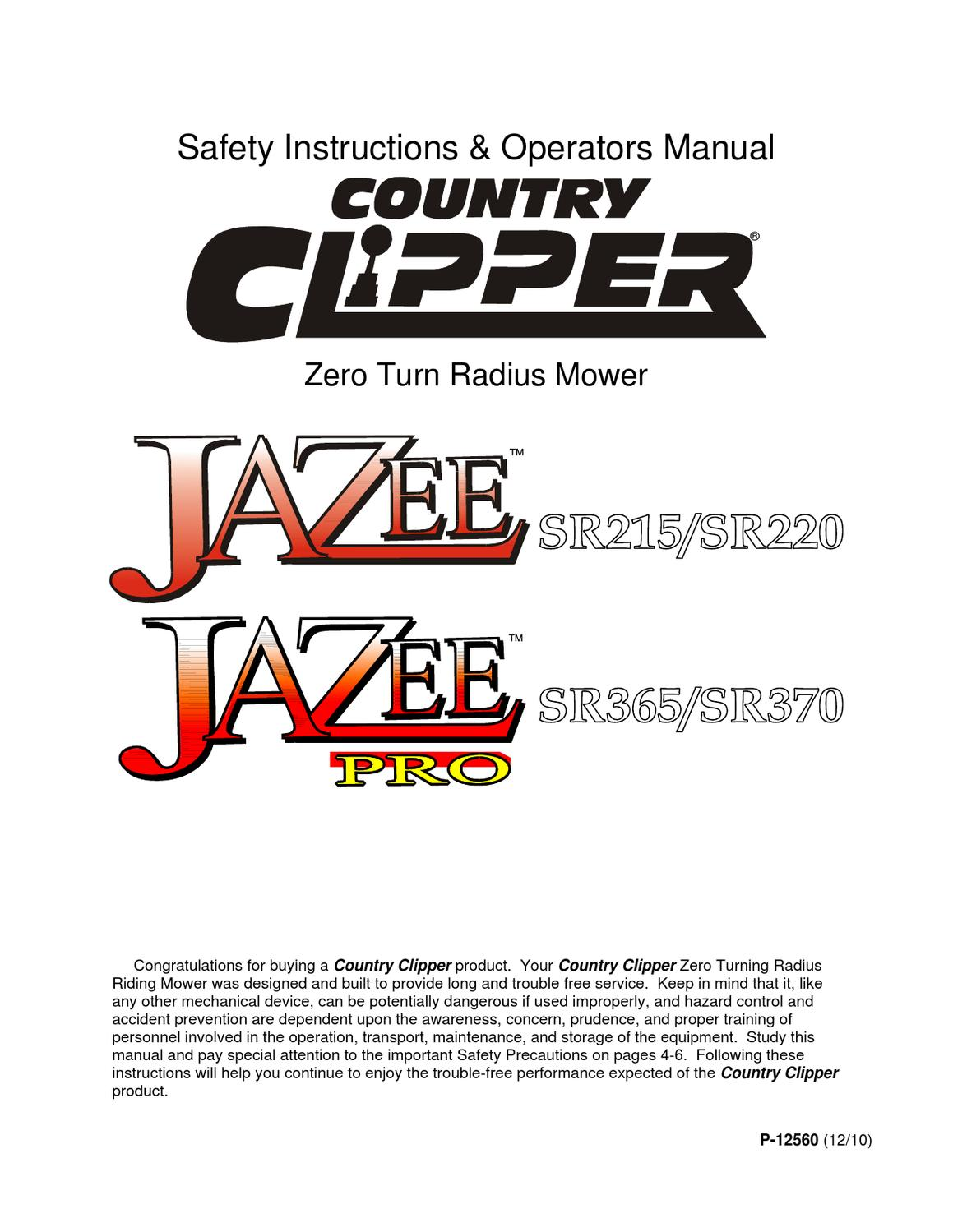 COUNTRY CLIPPER JAZEE & JAZEE PRO USER MANUAL by Allpower - issuu on country clipper mower models, country clipper mower parts, country clipper mower wiring,