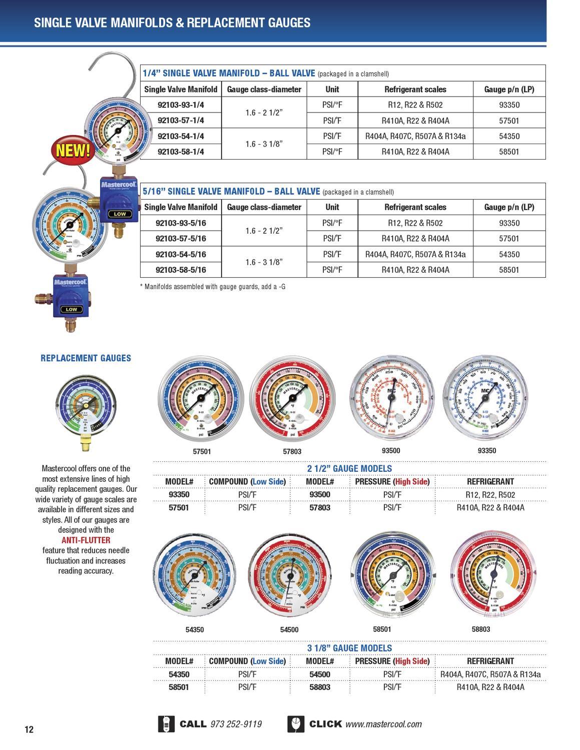 Mastercool Hvac Catalog 2013 By Inc Issuu Manifold Value R22 Single Gauge Accurate