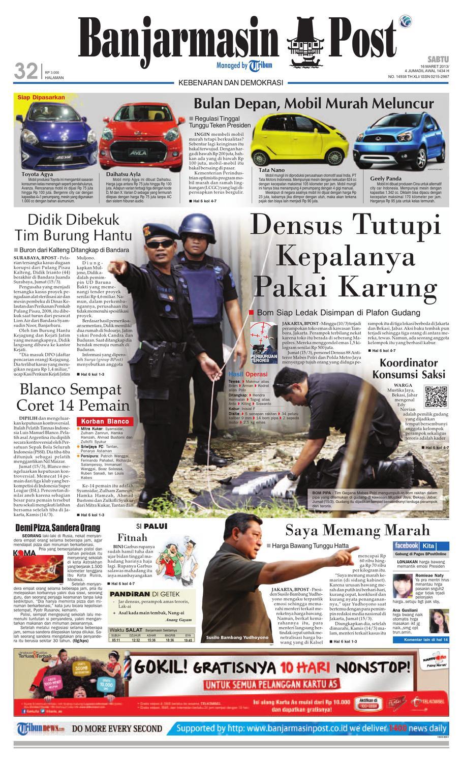 banjarmasin post edisi cetak sabtu 16 maret 2013 by