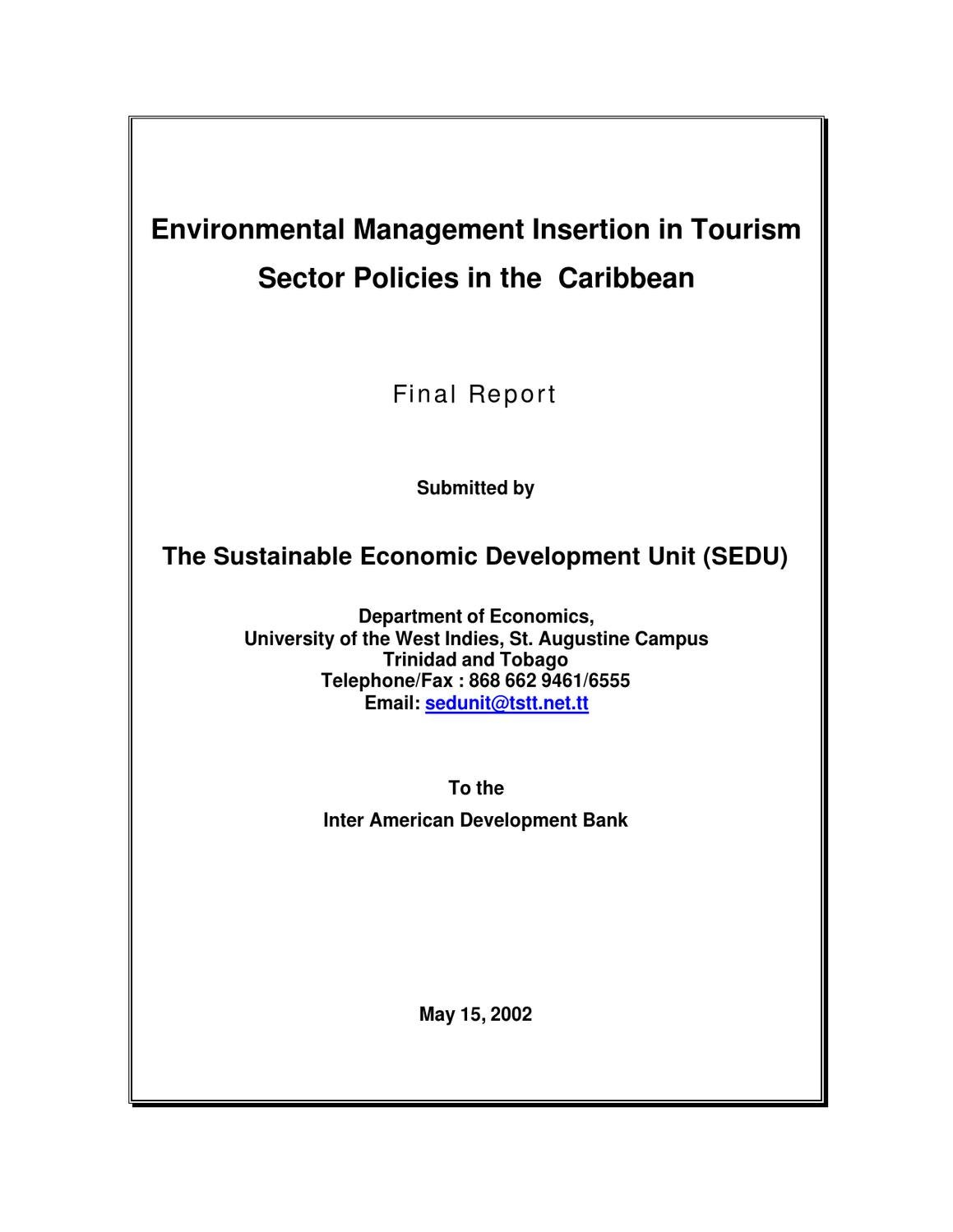environmental management insertion in tourism: sector policies in