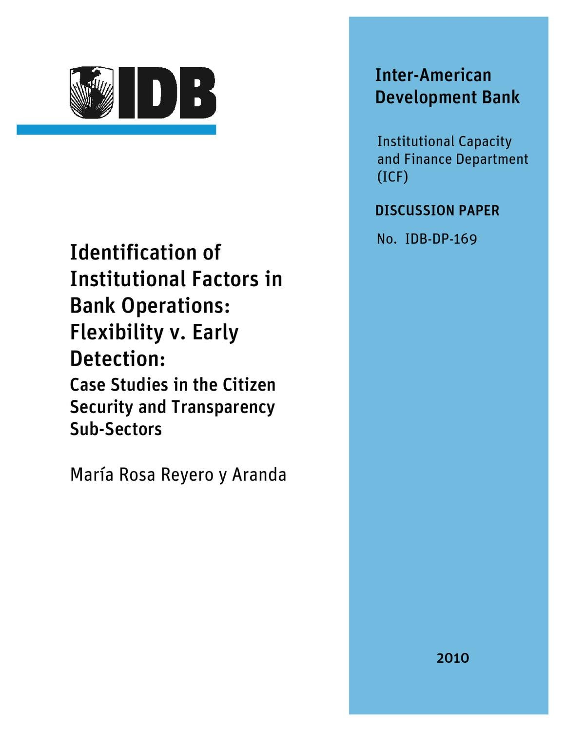 Identification Of Institutional Factors In Bank Operations