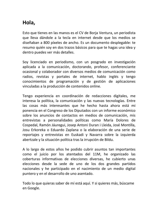 Cv Borja Ventura By Borja Ventura Issuu