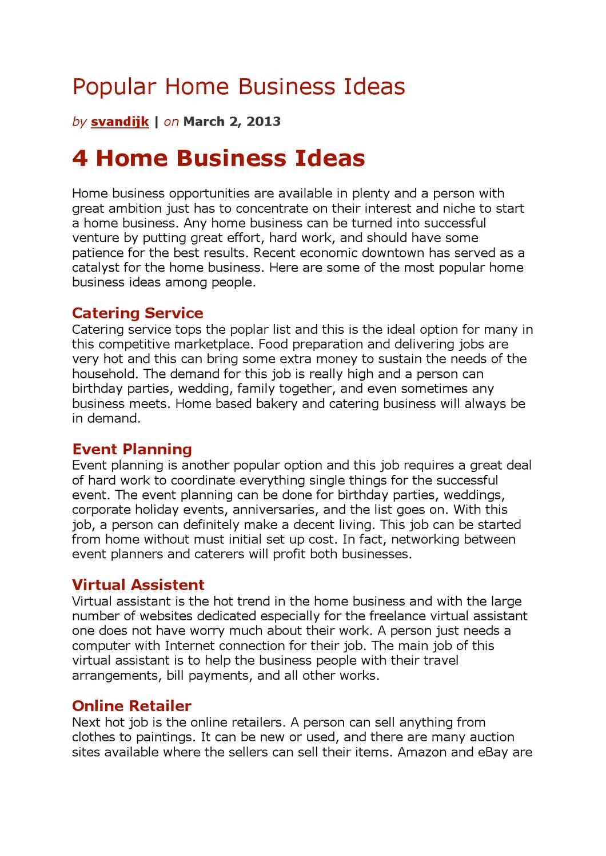 popular home business ideas by sander van dijk issuu