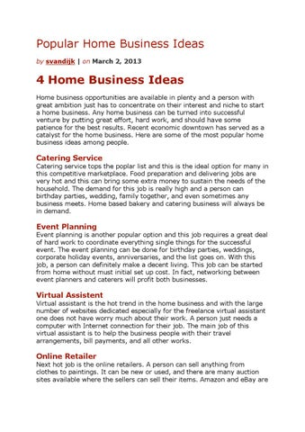 Popular Home Business Ideas By Sander Van Dijk Issuu