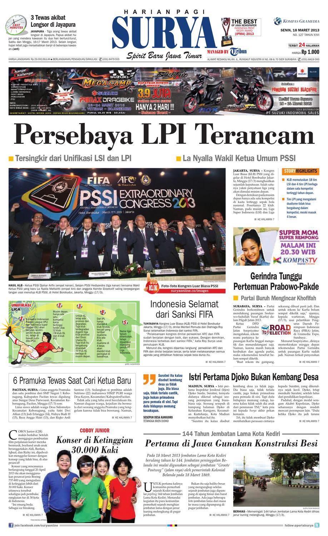 E Paper Surya Edisi 18 Maret 2013 By Harian SURYA Issuu