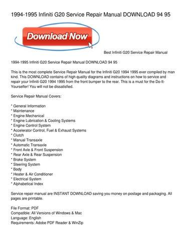 1994 1995 infiniti g20 service repair manual download 94 95 by rh issuu com 1995 infiniti g20 repair manual 1996 Infiniti G20