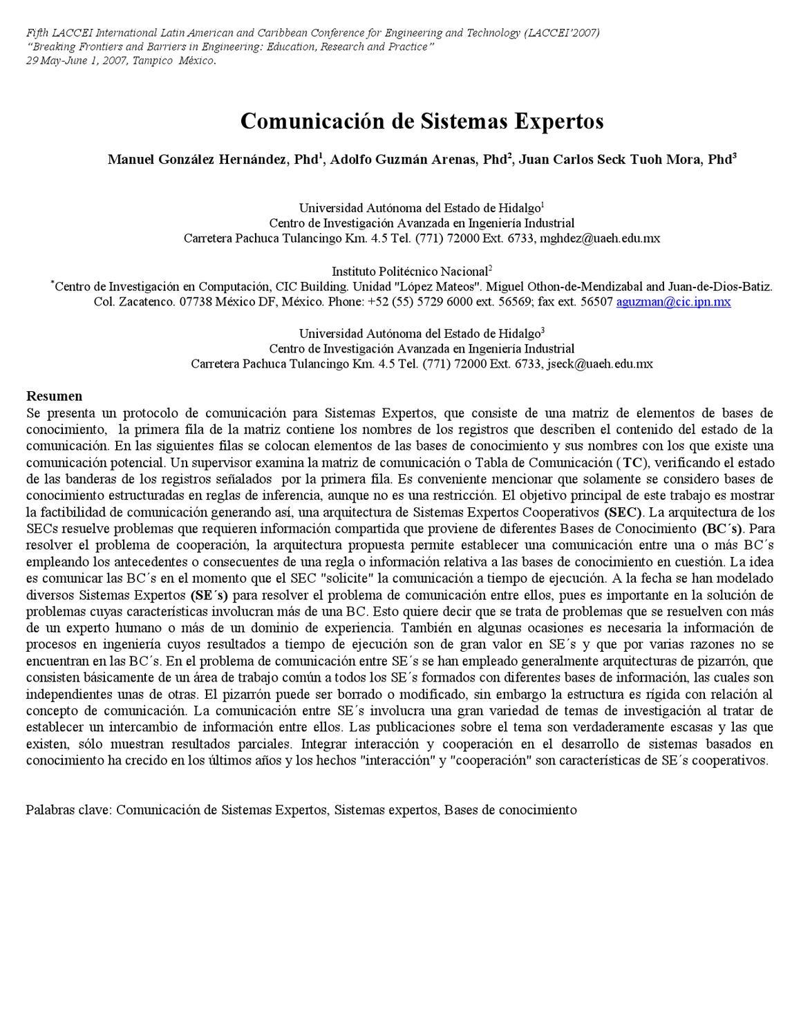 Comunicación de Sistemas Expertos by Adolfo Guzman - issuu