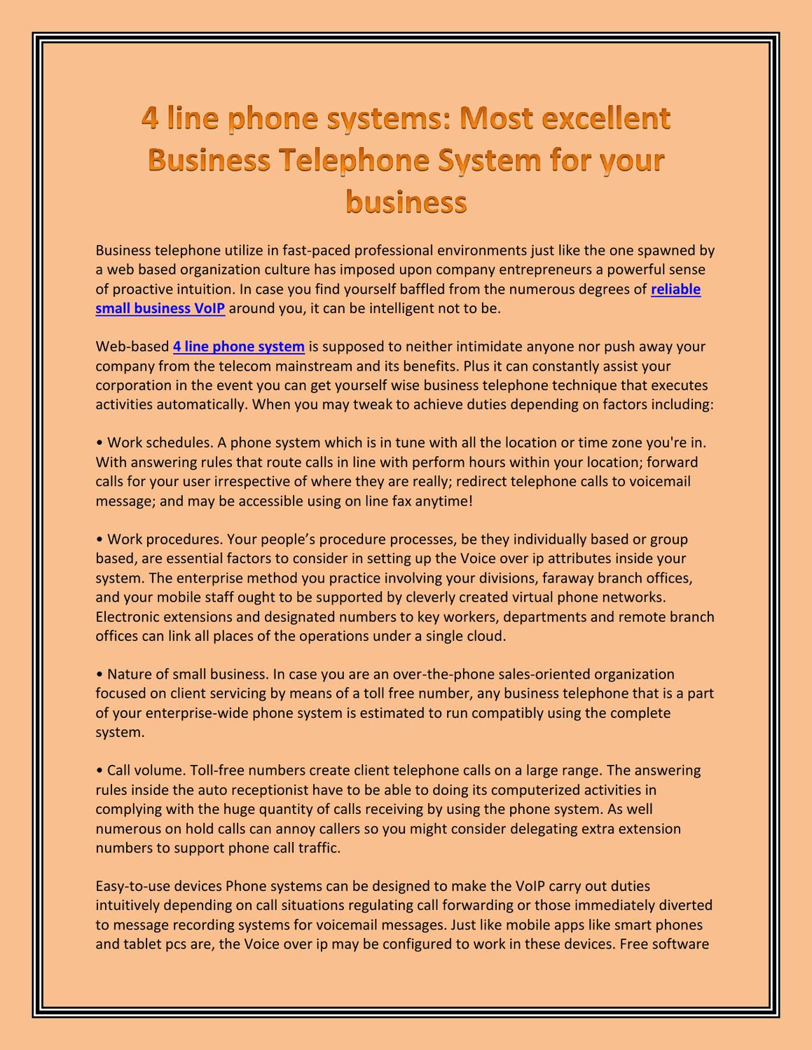 4 line phone systems - Most excellent Business Telephone System for