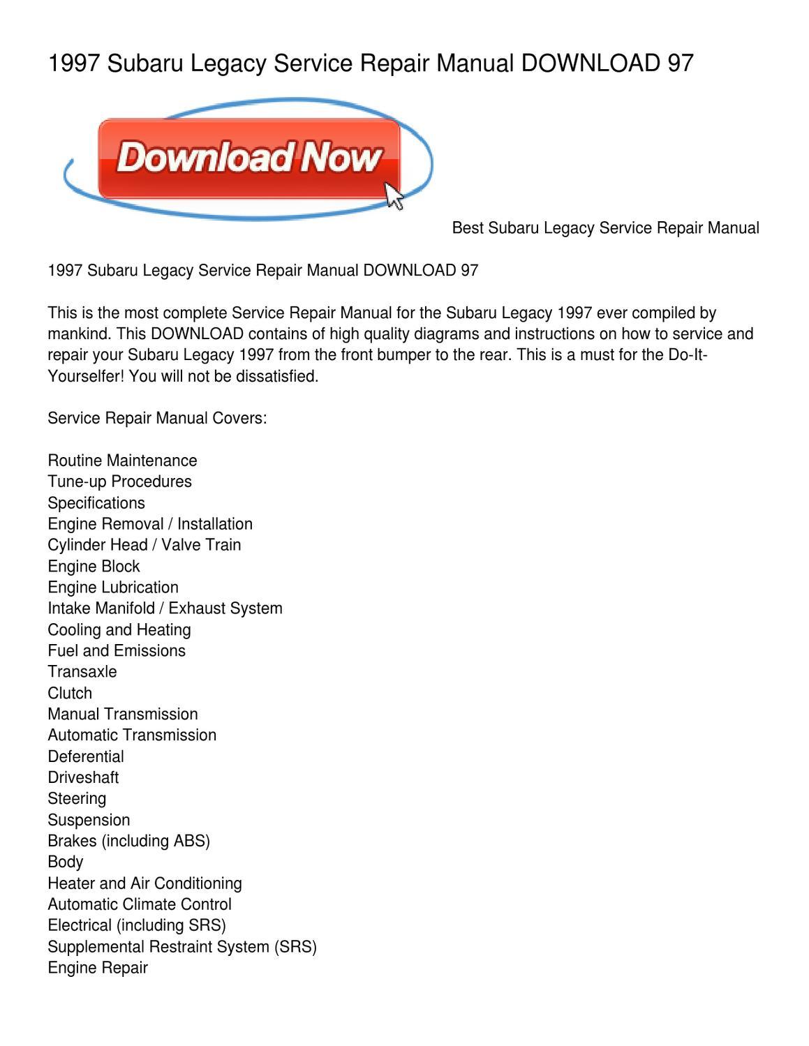 1997 Subaru Legacy Service Repair Manual DOWNLOAD 97 by Dora Warner - issuu