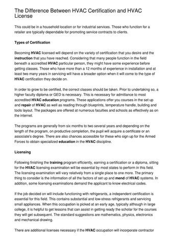 The Difference Between HVAC Certification and HVAC License by ...