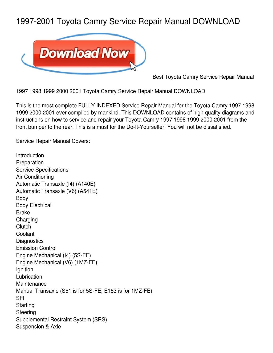 1997 2001 toyota camry service repair manual download by jacquline rh issuu com Service Repair Manuals Online Service Repair Manuals Online