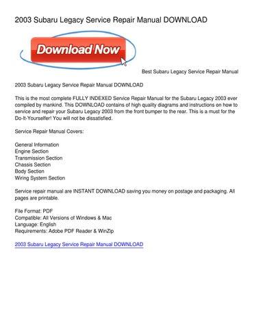 2003 subaru legacy owners manual pdf