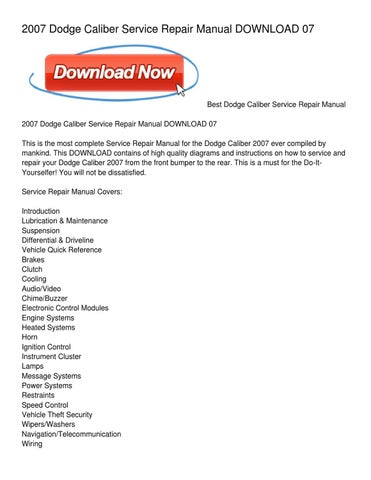 2007 dodge caliber service repair manual download 07 by david harris 2007 dodge caliber service repair manual download 07 sciox Gallery