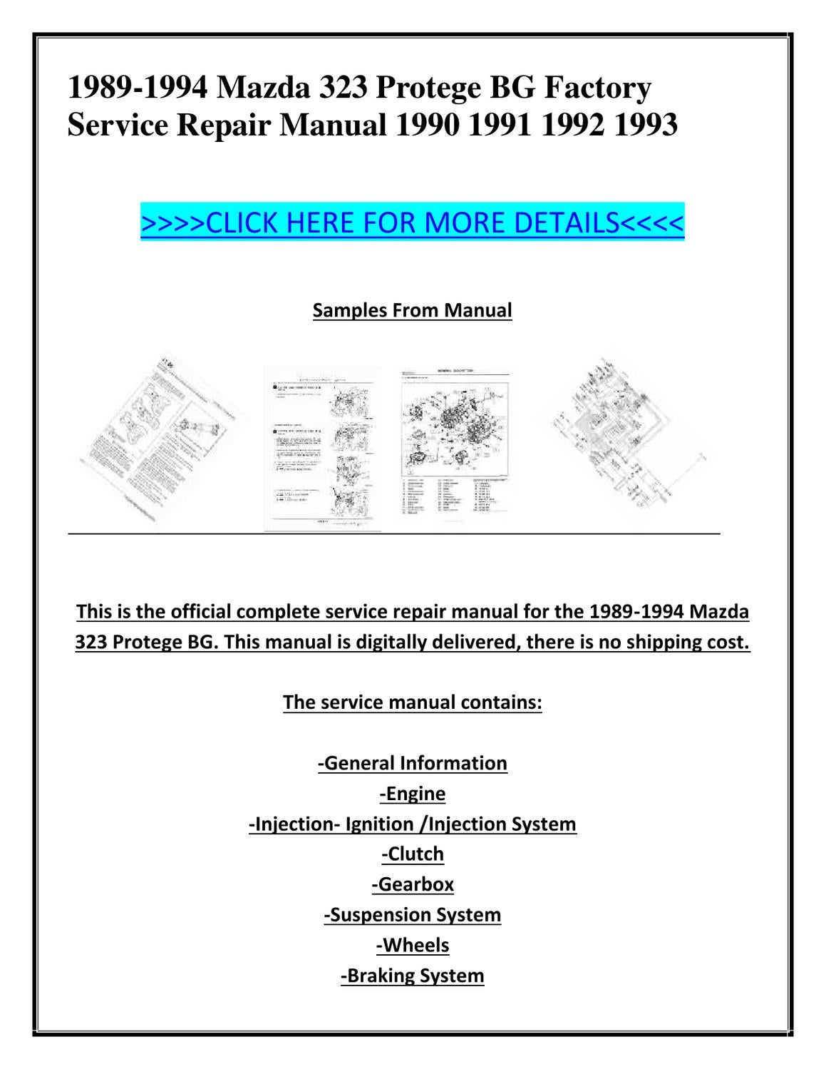 1989-1994 Mazda 323 Protege BG Factory Service Repair Manual 1990 1991 1992  1993 by ion ion - issuu