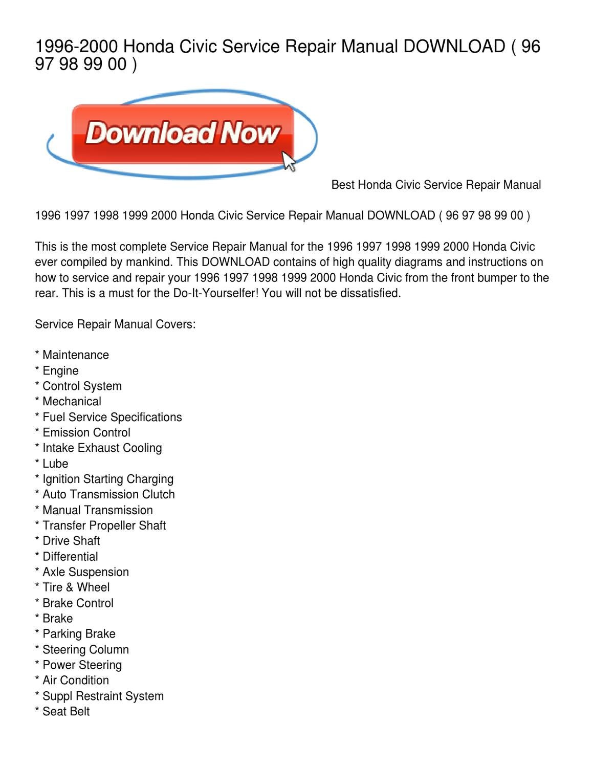 1996-2000 Honda Civic Service Repair Manual DOWNLOAD by Marquetta Palmer -  issuu