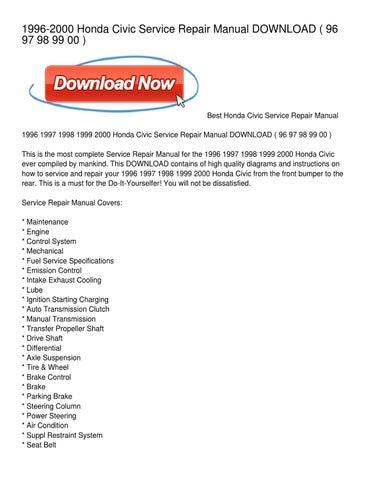 1996 2000 Honda Civic Service Repair Manual DOWNLOAD ( 96 97 98 99 00 )