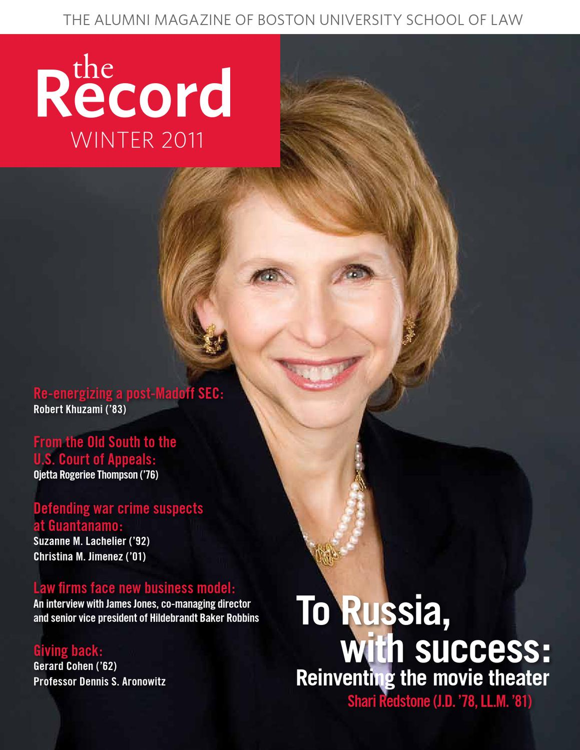 The Record Alumni Magazine Winter 2011 by Boston University