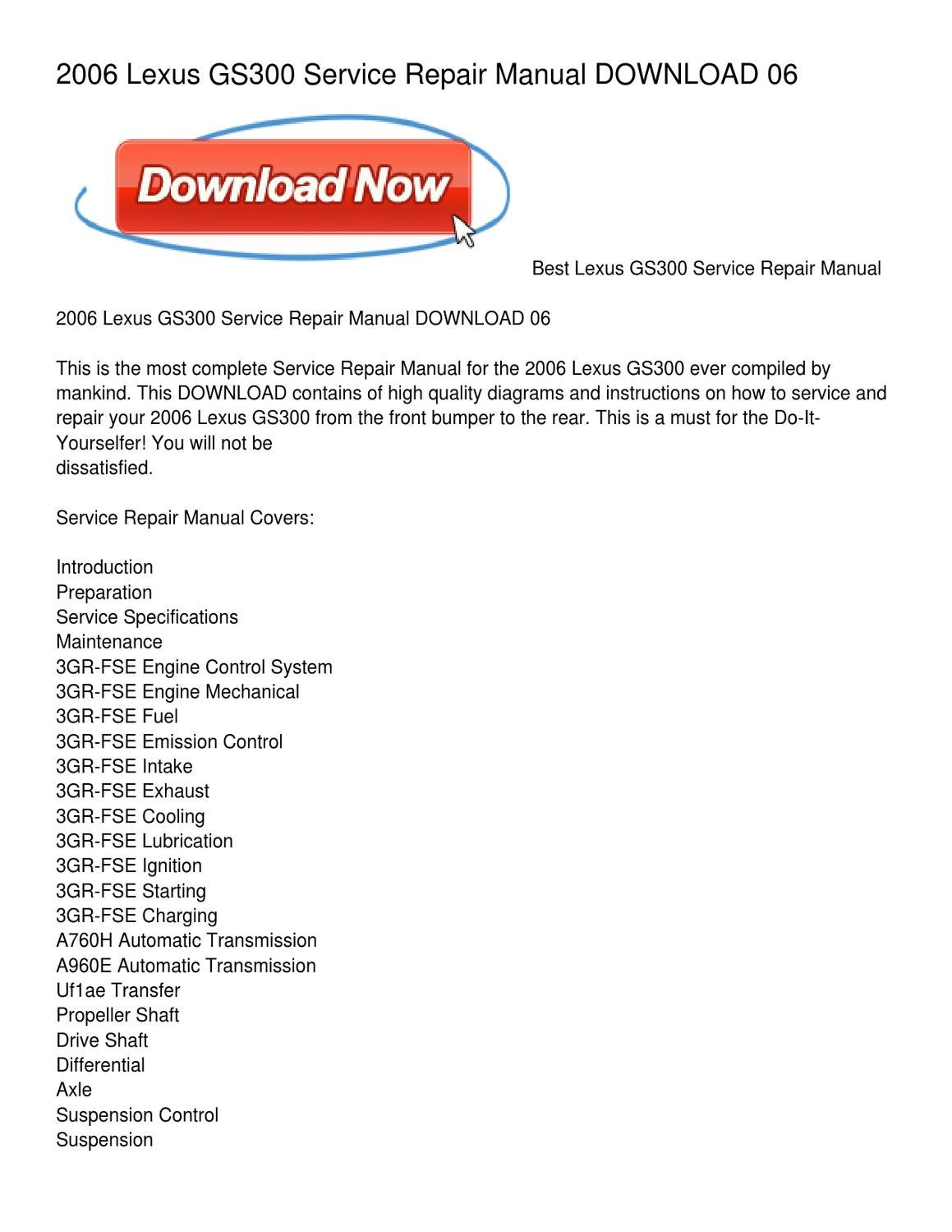 2006 Lexus Gs300 Service Repair Manual Download 06 By Pamela Howard Electrical Wiring Diagram Issuu