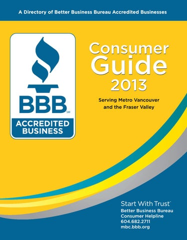 Bbb consumer guide 2013 by business in vancouver media group issuu bbb member csac wett certified wbc voc member licensed 12 municipalities malvernweather Gallery