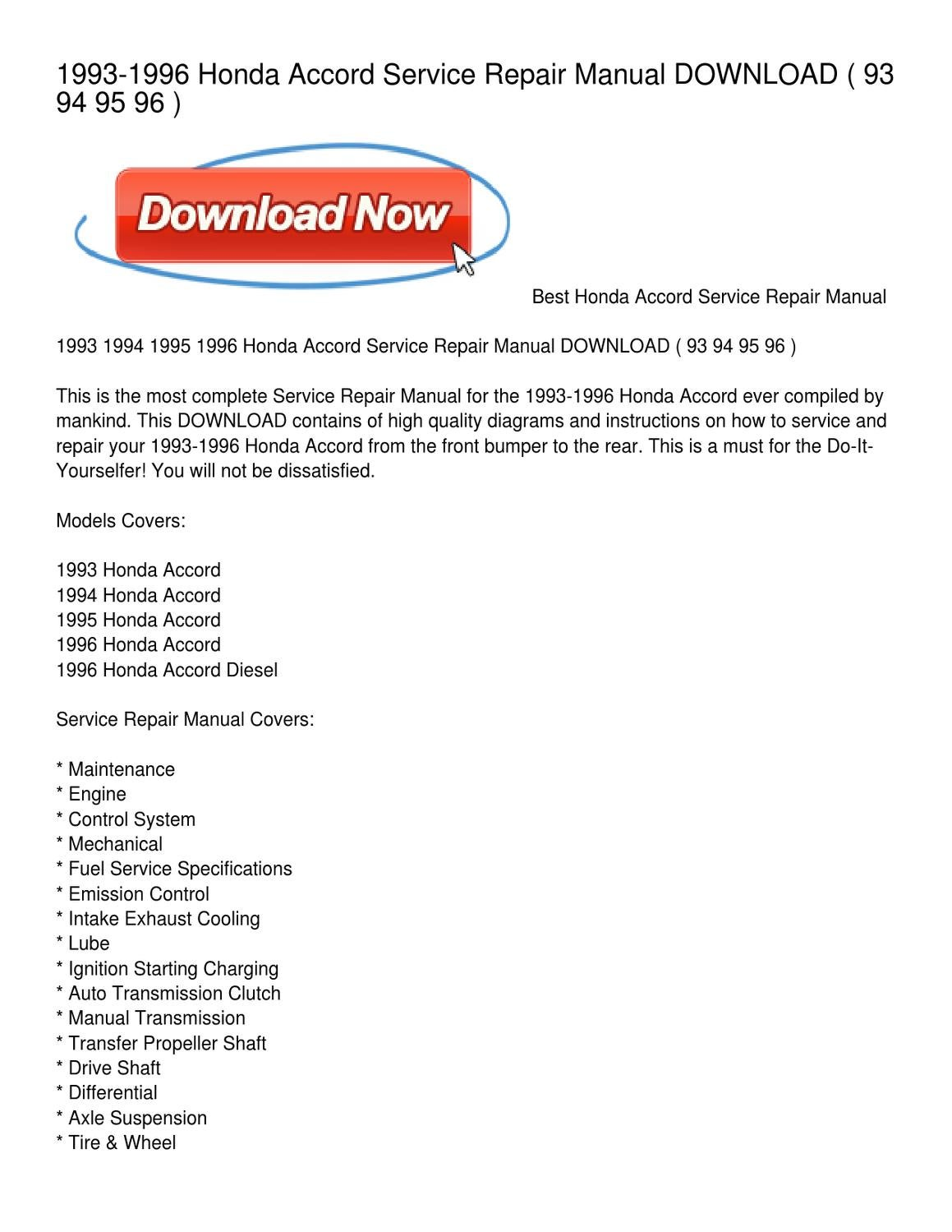 94 Accord Transmission Wiring Diagrams 1997 Honda System Library 1993 1996 Service Repair Manual Download By Whitney Rh Issuu Com