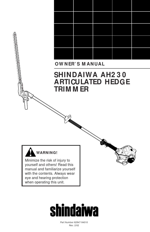 shindaiwa ah230s user manual by allpower issuu rh issuu com Shindaiwa 25 Parts Manual S Shindaiwa S25 Trimmer