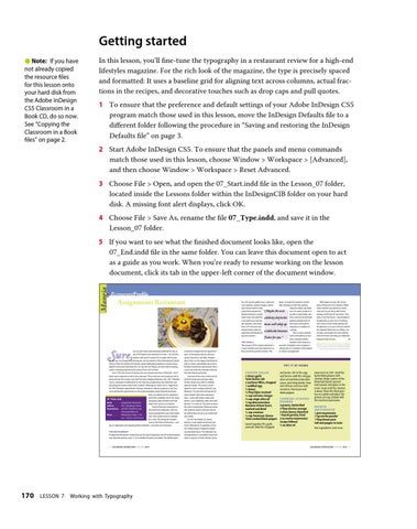 Indesign Cs5 Classroom In A Book Lesson Files