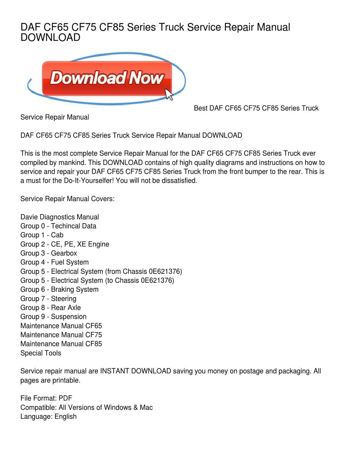 DAF CF65 CF75 CF85 Series Truck Service Repair Manual DOWNLOAD by Lisa  Mahoney - issuu