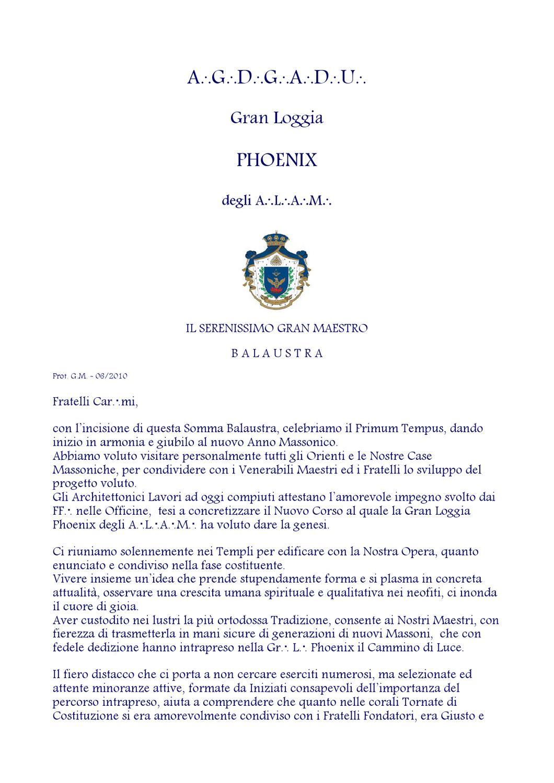 Balaustra del primum tempus 2010 e v gran loggia phoenix - Tavole massoniche per maestri ...