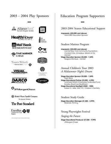 Central new york community foundation inc by syracuse stage issuu page 1 malvernweather Choice Image
