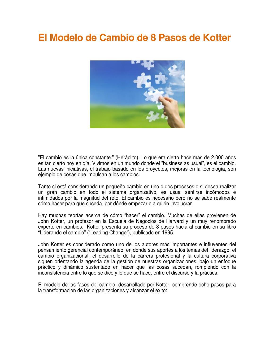 El modelo de cambio de 8 pasos de Kotter by Norberto Figuerola - issuu