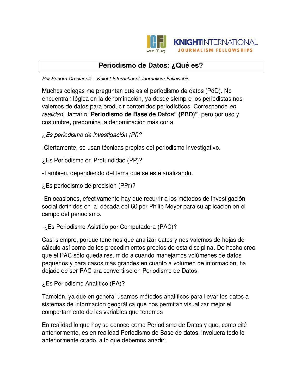 Qué es el Periodismo de Datos? by Sandra Crucianelli - issuu