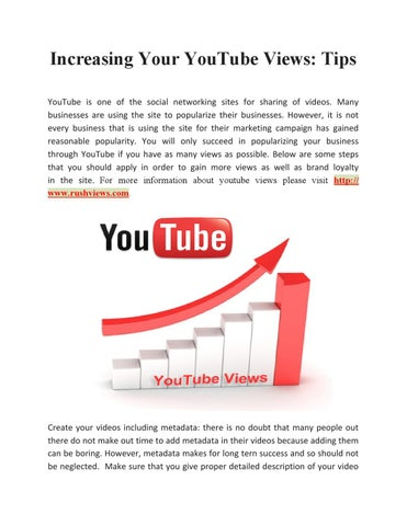 Increasing Your YouTube Views: Tips by Terry Barton - issuu