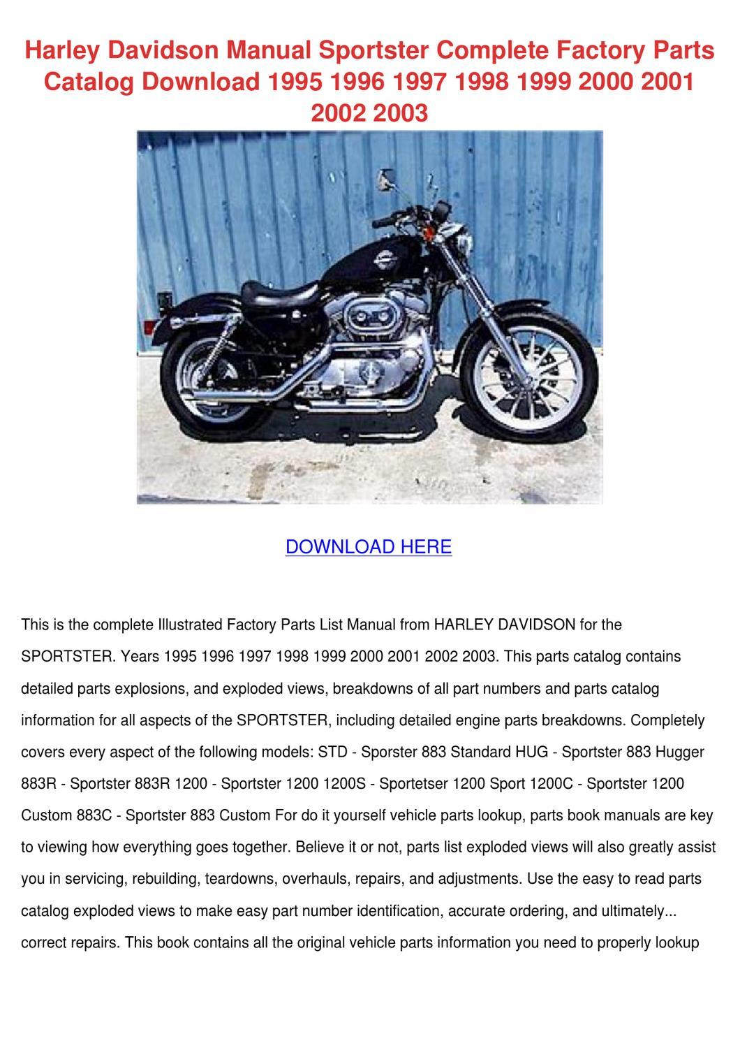 Harley Davidson Manual Sportster Complete Fac By Enda Dito Issuu Motorcycle Engine Parts Diagram
