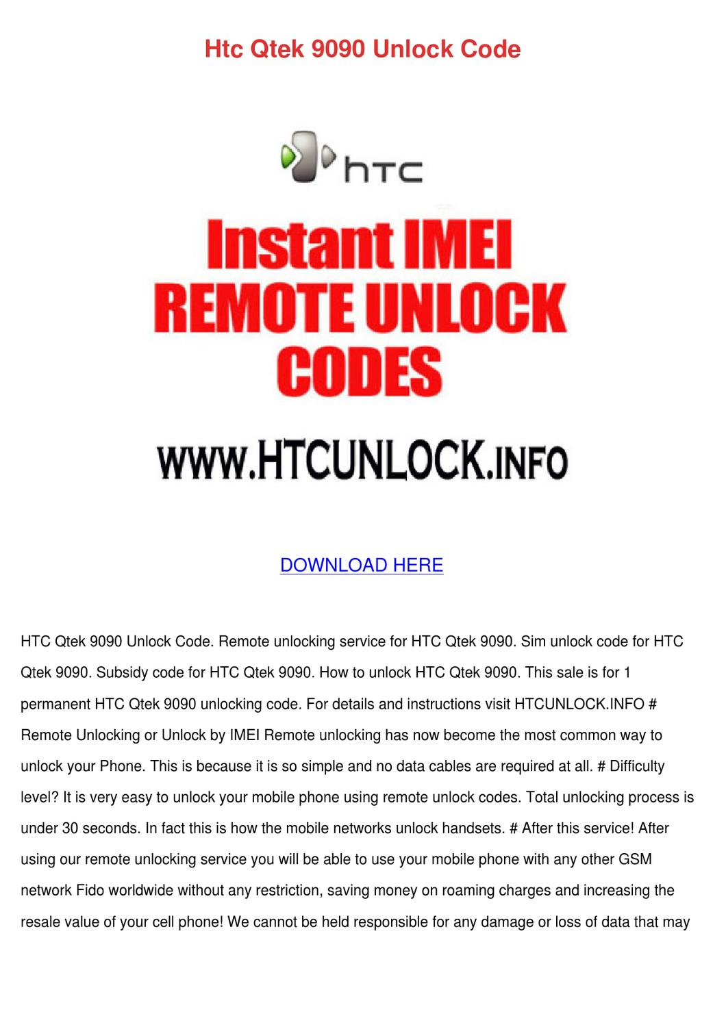 Htc Qtek 9090 Unlock Code by Enda Dito - issuu