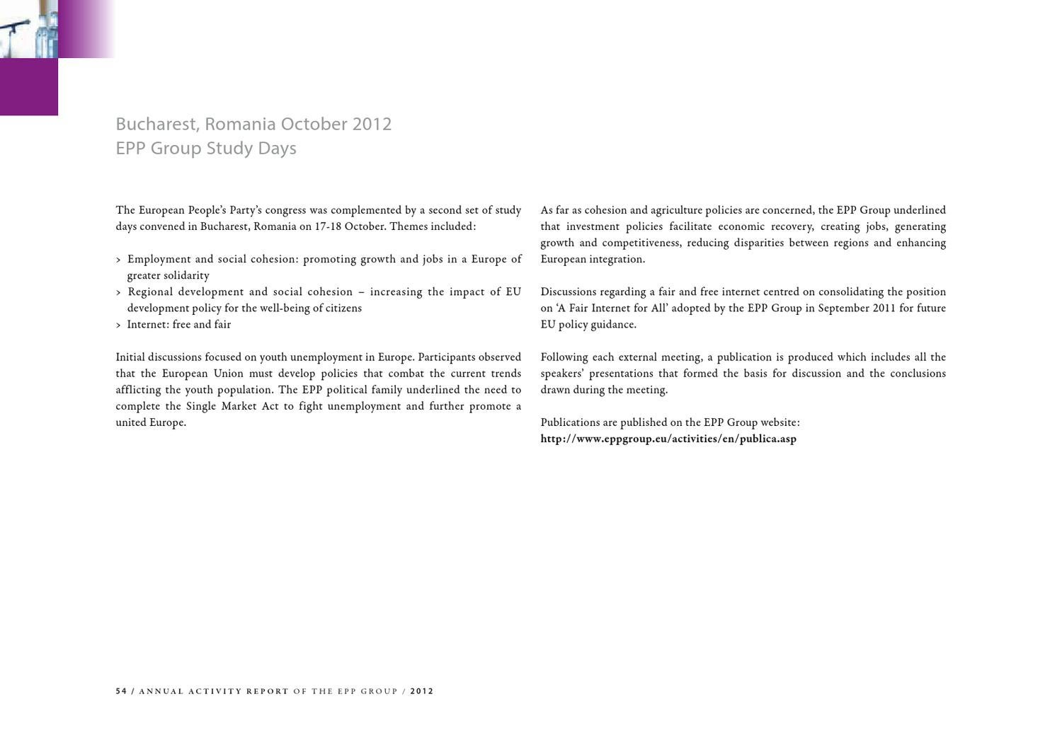 Annual Activity Report 2012 of the EPP Group in the European