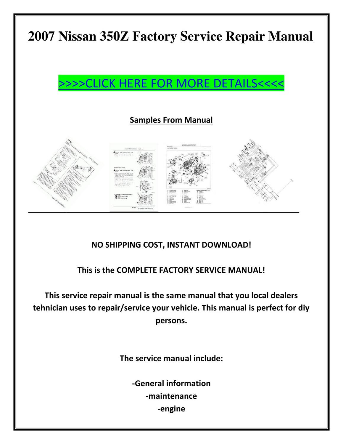 service manual pdf 2007 nissan 350z transmission service. Black Bedroom Furniture Sets. Home Design Ideas