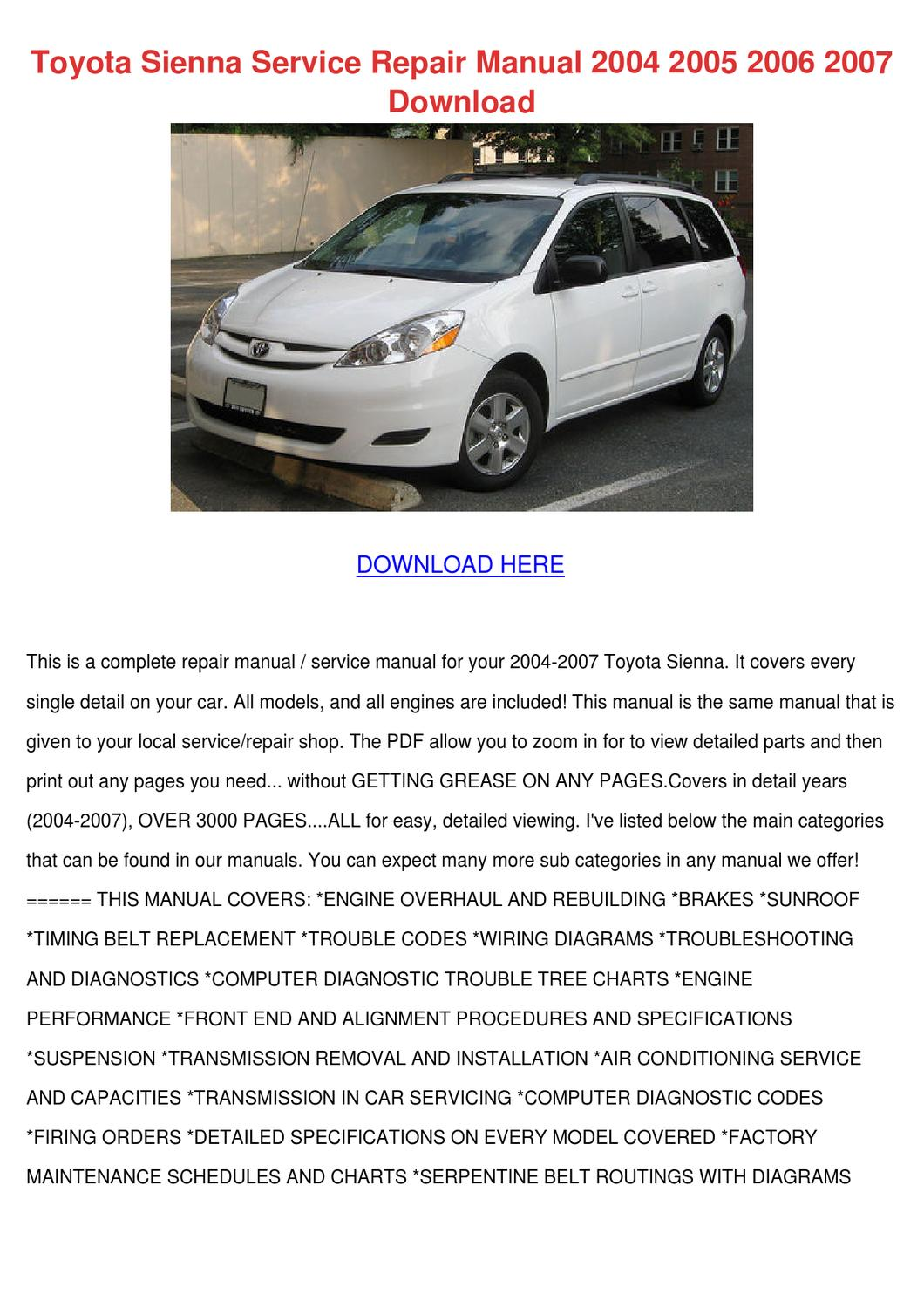 Toyota Sienna Service Repair Manual 2004 2005 By Enda Dito