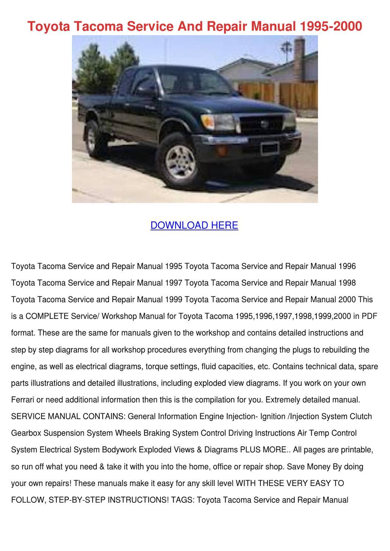 2017 Toyota Tacoma T Manual Guide