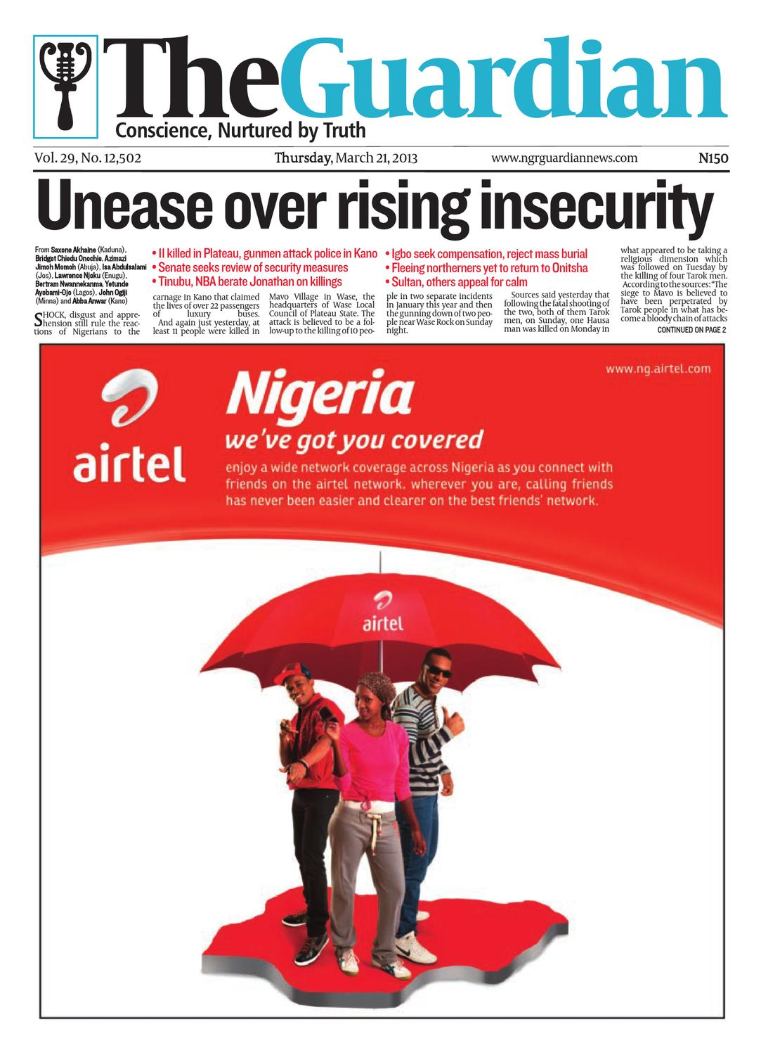Thur 21 Mar 2013 The Guardian Nigeria by The Guardian