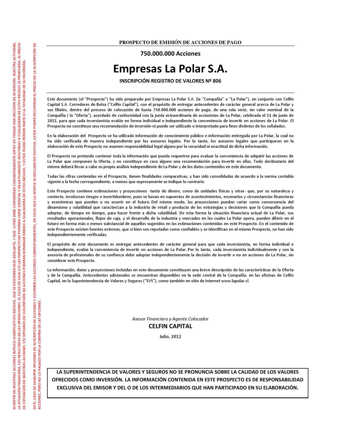 Prospecto de emisión de acciones de pago - julio 2012 by Nueva Polar ...