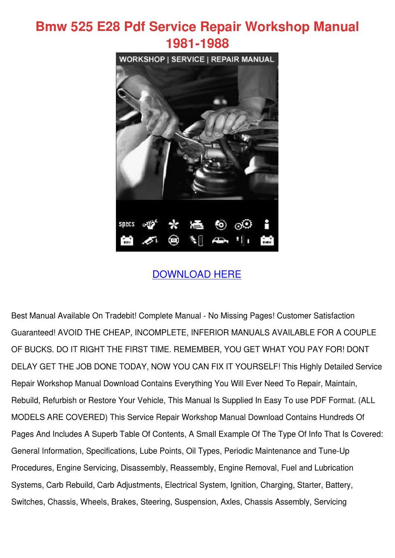 bmw e28 service manual pdf