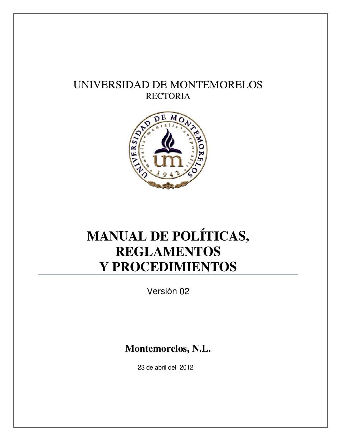 Manual de Políticas, Reglamentos y Procedimientos Institucionales ...