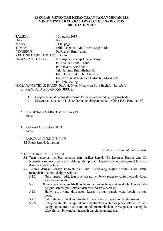 Mesyuarat Disiplin Kali 1 2013 By Lokman Hakim Issuu
