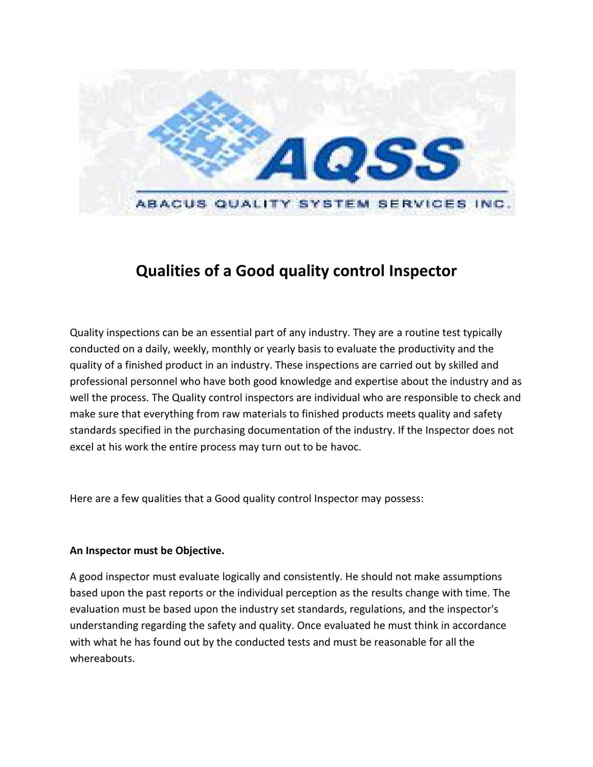 how to become a quality control inspector in canada