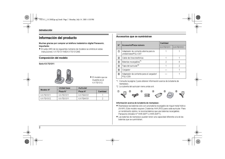 Desembalaje Panasonic Kx Tg1311 Manual Guide