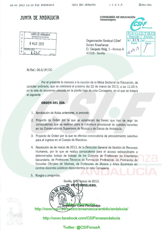 Csif convocatoria mesa sectorial 22 marzo oposiciones y for Csif ensenanza exterior