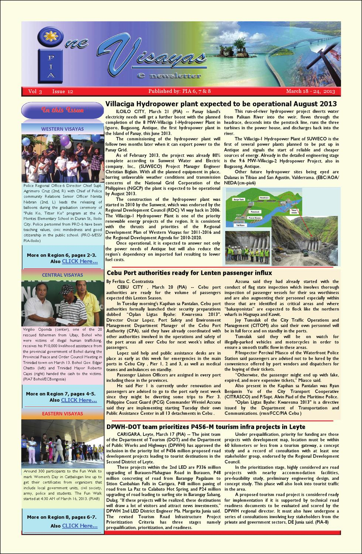 One Visayas e-Newsletter Vol 3 Issue 12 by piaamo6 Western Visayas
